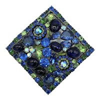 Weiss Spectacular Ginormous Blue and Green Square Bejeweled Brooch