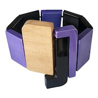 Isadora Paris Wood and Galalith Stretch Bracelet