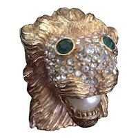 KJL Lion Head Brooch