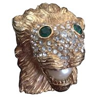 KJL Lion Head Brooch