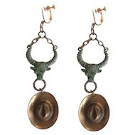 Steer Head with Cowboy Hat Drop Earrings