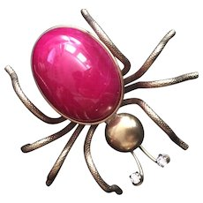 Lucky Vintage Brass and Red Belly Spider Pin