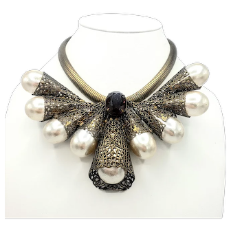 Large Faux-Pearl Runway Bib Necklace