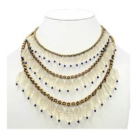 DAZZLING 3 Strand Cut Crystal and Blue Bead Necklace