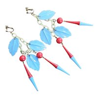 Vintage Shoulder Sweeping Red and Blue Celluloid Earrings