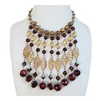 Drippy Garnet-Red, Golden Metal and Faux Pearl Bib Necklace