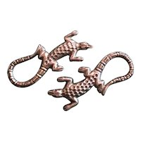 Pair of Lazy Lizards Pins in Silver - 2
