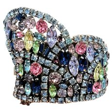 ALICE CAVINESS Magnificent Menagerie of Colorful Crystals Metal Cuff Bracelet