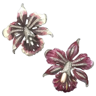 1930's Enameled Orchid Fur Clips