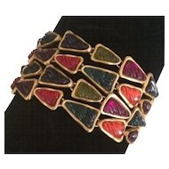 4 Strand Candy Colored Triangle Ribbed Beaded Bracelet