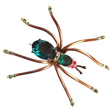 Green Crystal Daddy Long Legs Spider Pin
