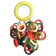 Colorful Anka Rings of Bakelite Brooch