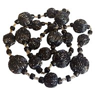 1920's Beaded Black Long Necklace