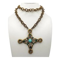 K.J.L. Maltese Pendant on Miriam Haskell Long Twisted Chain