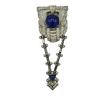 Articulated 1930's Blue Cabochon and Crystal Drop Dress Clip