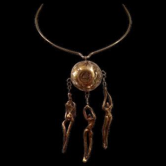 Brutalist Human Form Pendant Choker Necklace
