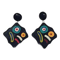 Mod Abstract Painted Earrings