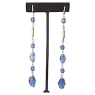 1930's Long Blue Crystal Earrings