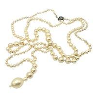 LUSTROUS Long Double Strand Faux Pearl Necklace