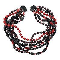 Jay Feinberg Shiny Seven Strand Black and Red Beaded Necklace