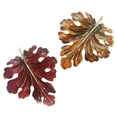 Weiss Enameled Autumn Leaves Pair of Brooches