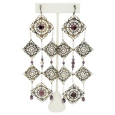 Dramatically Long Elaborate Purple Stone Earrings