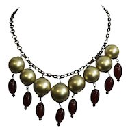 1930's Necklace with Large Golden Faux Pearls and Crystal Drops