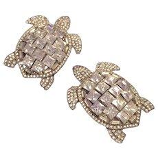 Rhinestone Pair of Turtle Pins