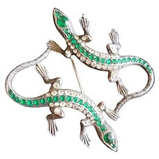 Green and Clear Crystal Double Lizard Brooch