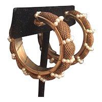 Miriam Haskell Mesh Woven Metal and Faux Pearl Hoop Earrings