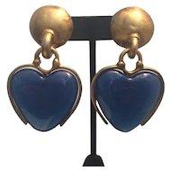 Mid-Century Blue Glass Heart Earrings