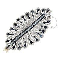 Stunning Scalloped Shades of Blue Rhinestone Bracelet