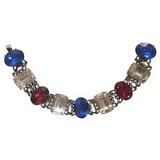Red, White and Blue Stone 4th of July Bracelet