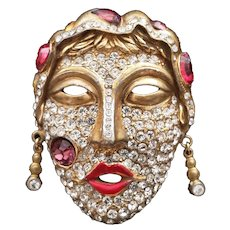 Pavé Crystal Face Lady with Dangling Earrings Pin