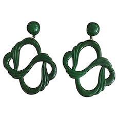 Giant Green Resin Earrings
