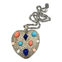 PAULINE RADER Large Heart and Cabochon Pendant Necklace