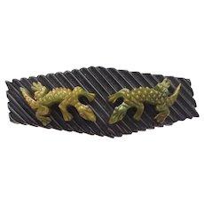 Deeply Carved Lizard Bakelite Bar Pin