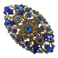 Ornate Czech Blue Crystal Floral Pin Brooch
