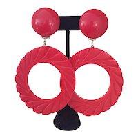 Red Carved Hoop Bakelite Earrings