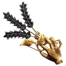 1940's Hand Pin Holding Blue Floral Bouquet