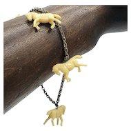 Celluloid Horse Charm Bracelet