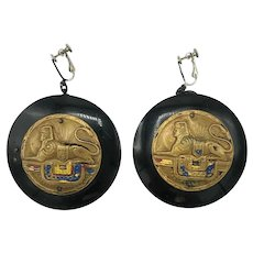 Sphinx Celluloid and Repoussé Egyptian Revival Earrings