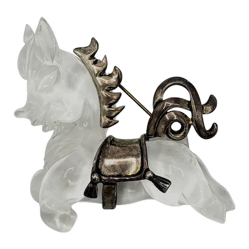 Sterling and Lucite Jelly Belly Galloping Pony Pin