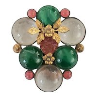 Exquisite Cabochon and Flower 1930's Dress Clip