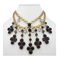 **RESERVED for J** 1930's Deep Purple and Clear Crystal Bib Necklace