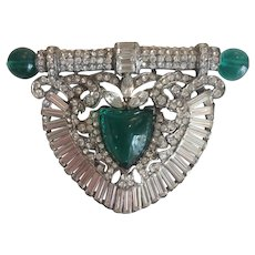 Breathtaking Green and Clear Art Deco Dress Clip