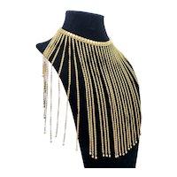 HOBÉ Golden Dangle Fringe Necklace