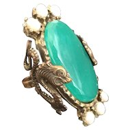 Dragon Chrysoprase Ring with Faux Pearls