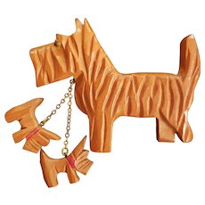 Lovable Mamma Scottie Pin with 2 Dangling Puppies Pin