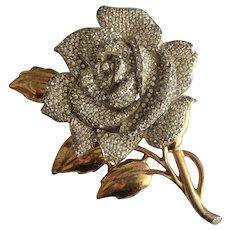 Large Vintage Rhinestone Rose Pin
